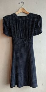 Topshop Navy Polka dot dress with tie back